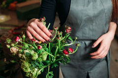 Florist with beautiful flowers. Stock Images