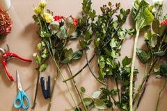 Florist creation tools Royalty Free Stock Photos