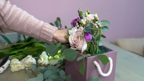 Florist cuts ranunculus during preparation of flower composition with eustomas, hyacinths, peony paeony, carnation, roses. And eucalyptus stock footage