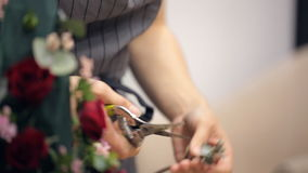 Florist cuts small branches with foliage from one big by secateurs. stock video footage