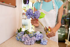Florist cuts  stems of flowers for a bouquet Stock Photo
