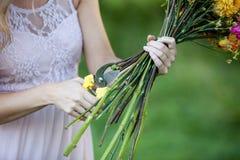 Florist cutting flower stems. Сloseup of female Stock Image