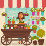 Florist Female Person near Showcase with Flowers Stock Photos