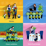 Florist 4 flat icons square composition. Flowers exhibition and special events floral design arrangements 4 flat icons square composition abstract vector stock illustration
