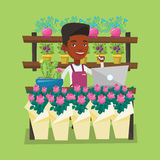 Florist at flower shop vector illustration. An african-american florist using telephone and laptop to take order. Young florist standing at the counter at Stock Image