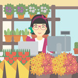 Florist at flower shop vector illustration. Royalty Free Stock Photos