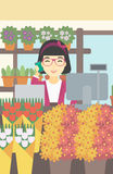 Florist at flower shop vector illustration. Stock Photography