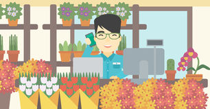 Florist at flower shop vector illustration. Stock Photos