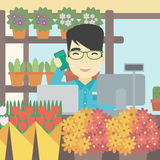 Florist at flower shop vector illustration. Royalty Free Stock Image