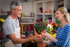 Florist giving bouquet of flower to woman Stock Photo