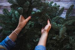 Florist and her hands on a fir branches start to prepare christmas wreath Stock Image