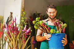 Florist in his flower shop Stock Image
