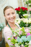 Florist holding bouquet flowers Royalty Free Stock Photos