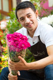 Florist holding a Bouquet Stock Photos