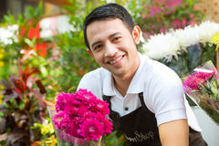 Florist holding a Bouquet Royalty Free Stock Photo