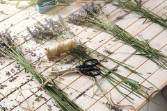Florist homemade, creating small bouquets of lavenders, for its Stock Images