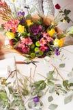 Florist making a bouquet Stock Image
