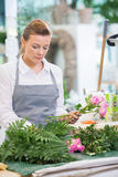Florist Making Bouquet Of Fresh Roses In Flower Royalty Free Stock Image