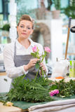 Florist Making Rose Bouquet In Flower Shop Royalty Free Stock Photos