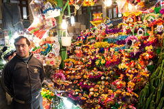 Florist man. Standing besides his stuff in Tehran Royalty Free Stock Image