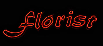Florist Neon Red Sign Royalty Free Stock Images
