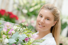 Florist in own boutique Stock Photos