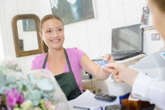 Florist runs own boutique Stock Images
