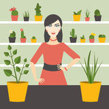 Florist sales woman in flower store. Stock Photography