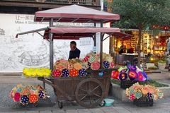 Florist sells bouquets of dried flowers, Hangzhou, China Stock Images