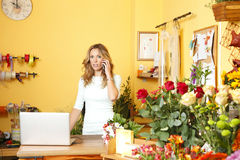 Florist shop owner woman Royalty Free Stock Images
