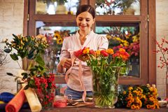 Florist in shop Stock Photography