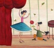 Florist shop representative poster. Artistic work. Watercolors on paper Royalty Free Stock Photo