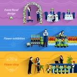 Florist shop service flat banners set Stock Photos