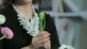 Florist show talk about flower tulip and make bouquets in white box stock video