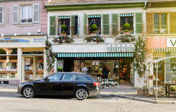 Florist store in French village cozy boutique Stock Image