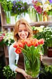 Florist with tulips Royalty Free Stock Image
