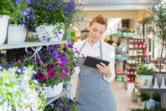Florist Using Digital Tablet In Flower Shop Stock Images