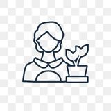 Florist vector icon isolated on transparent background, linear F stock illustration