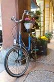 Florist who has set up a bike Royalty Free Stock Photos