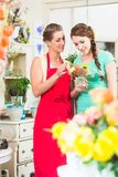Florist woman and customer in flower shop Royalty Free Stock Photo