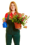 Florist woman holding flowers Stock Photo