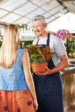 Florist and woman in a nursery Stock Images