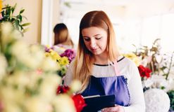 Florist woman taking order. Wears blue apron. Small business concept Royalty Free Stock Image
