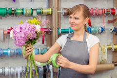 Florist work with flowers Stock Image