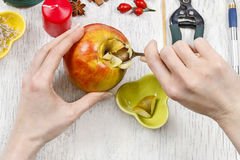 Florist at work: How to make apple and wild rose candle holders, Royalty Free Stock Photo
