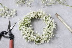 Florist at work. How to make gypsophila paniculata wedding wreath, step by step