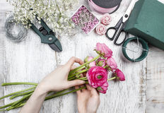 Florist at work Royalty Free Stock Image