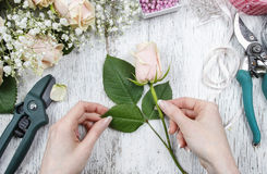 Florist at work. Woman making bouquet of pink roses. Royalty Free Stock Photos
