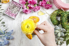 Florist at work. Woman making bouquet Stock Image
