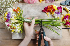 Florist at work. Woman making bouquet of spring freesia flowers Stock Photos